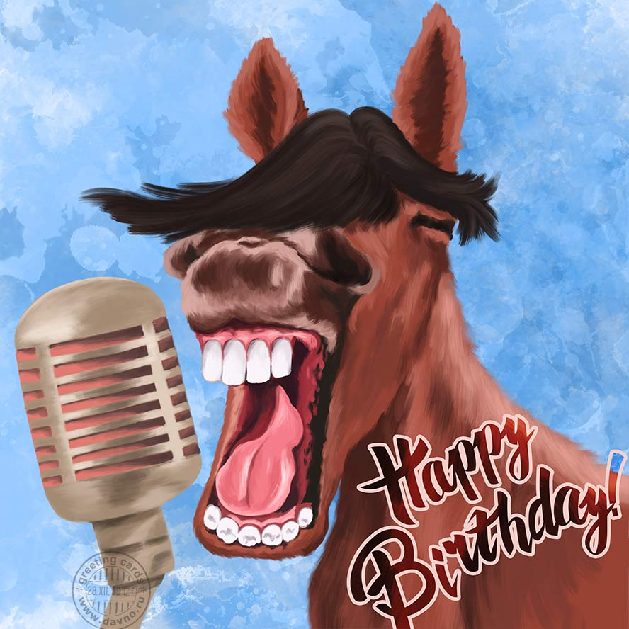 Funny Laughing Horse Birthday Card Download On Davno