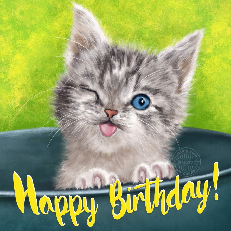 Cute Kitten Free Happy Birthday Card