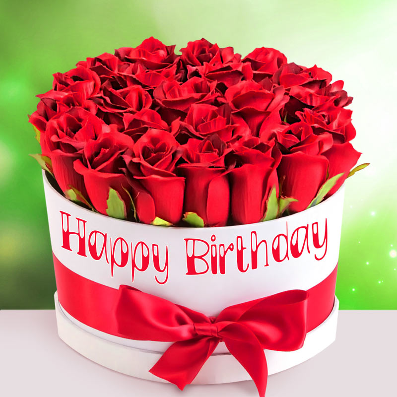 Red Rose Box bouquet of flowers birthday card