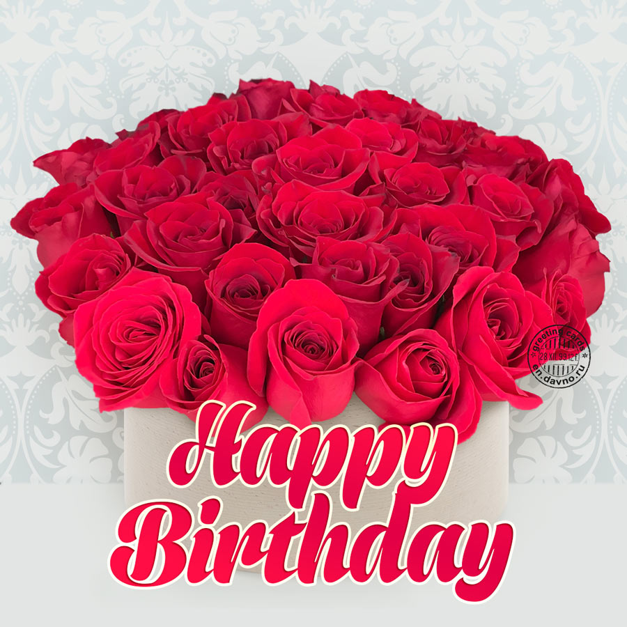 Beautiful happy birthday red roses greeting card