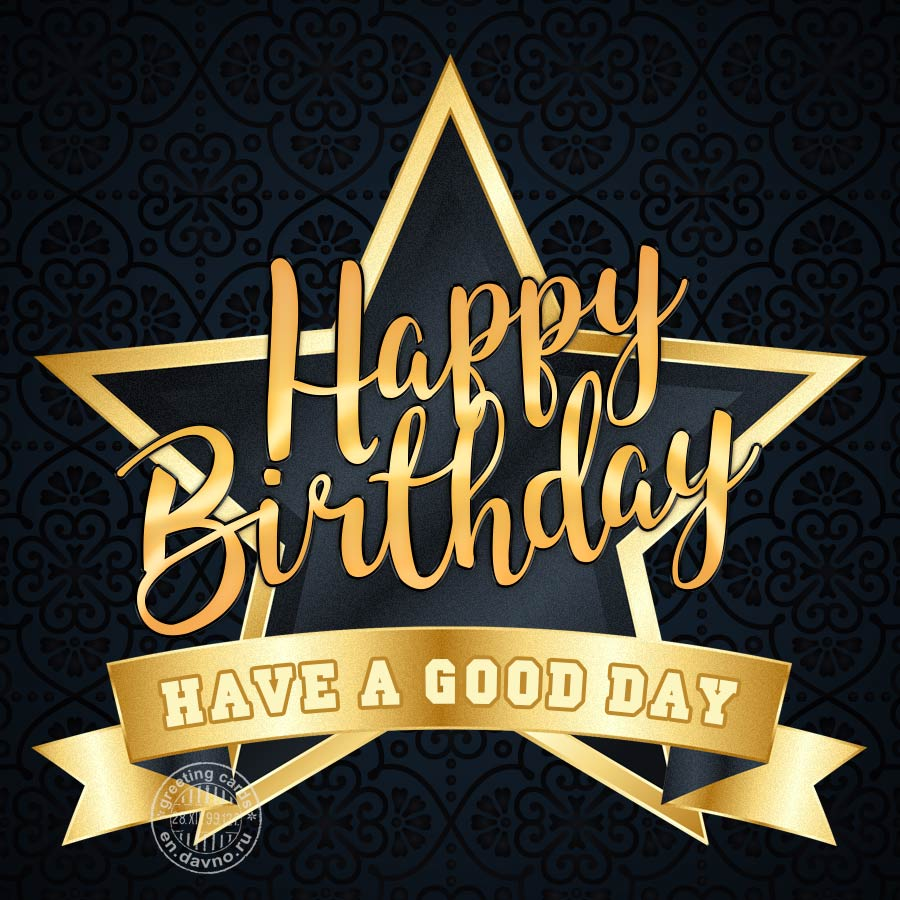 Golden Star Happy Birthday Card
