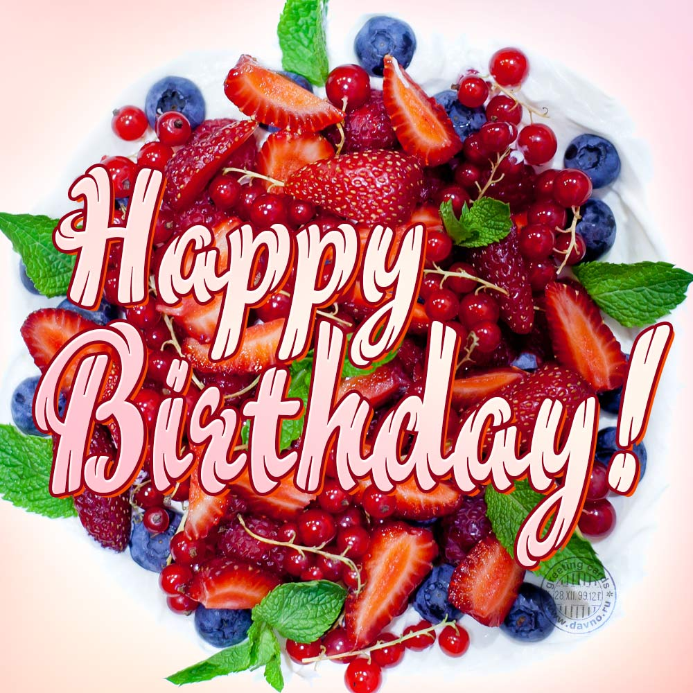 Happy birthday berries cake greeting card