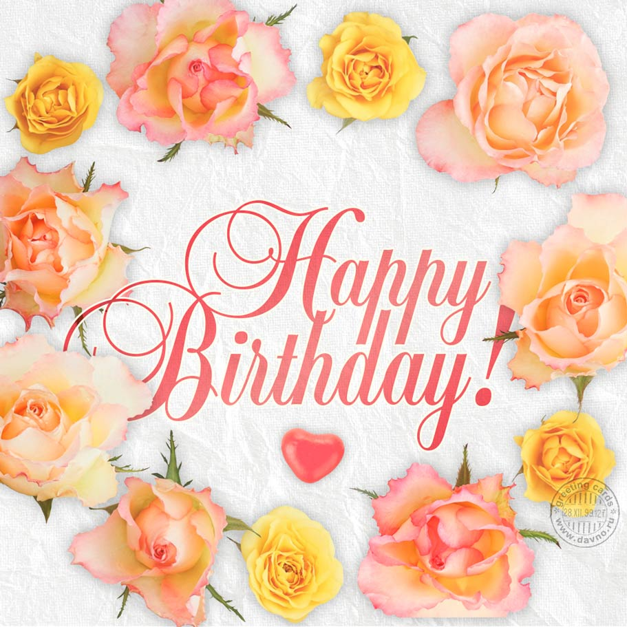 Happy Birthday Card With Pink And Yellow Roses Download On Davno