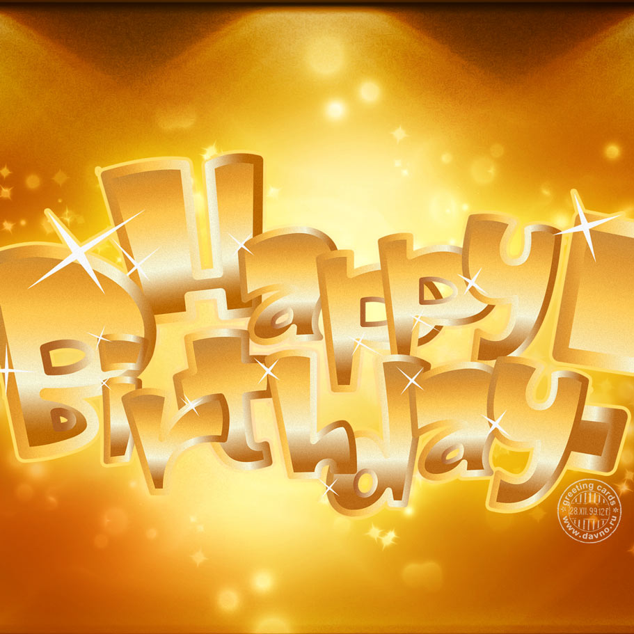 Golden birthday card