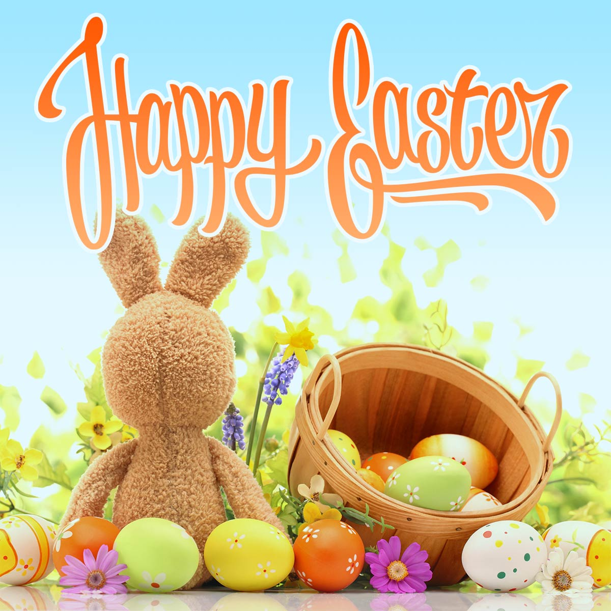 Happy Easter Day Lettering Card with Bunny and Eggs