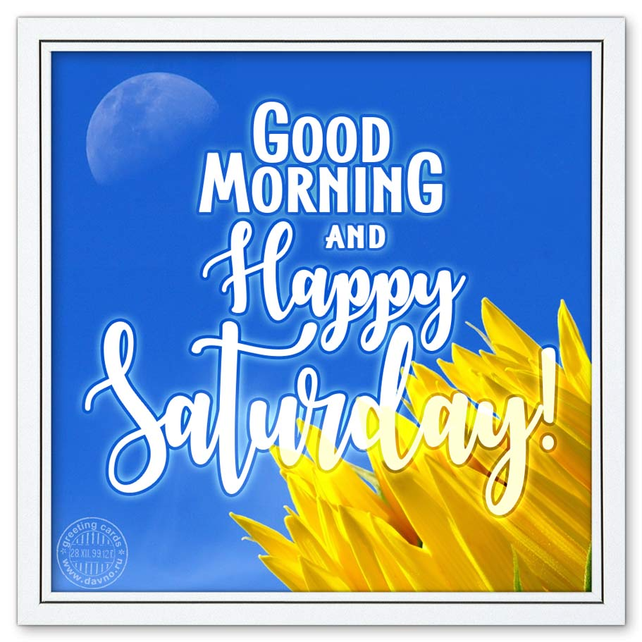 Good Morning and Happy Saturday!