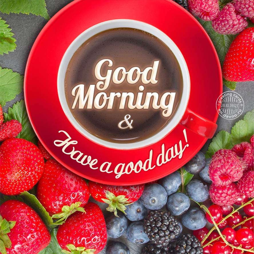 Good Morning card with a cup of coffee and delicious breakfast