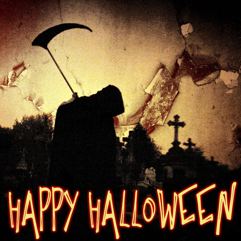 scary graveyard halloween card free download. card #809, category