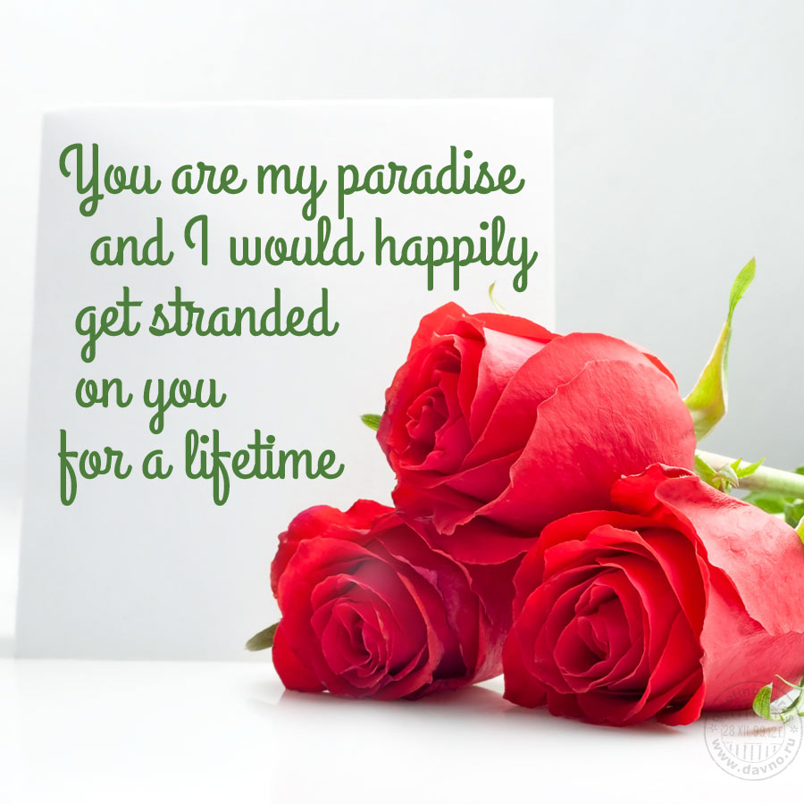 You are my paradise and I would happily get stranded on you for a lifetime