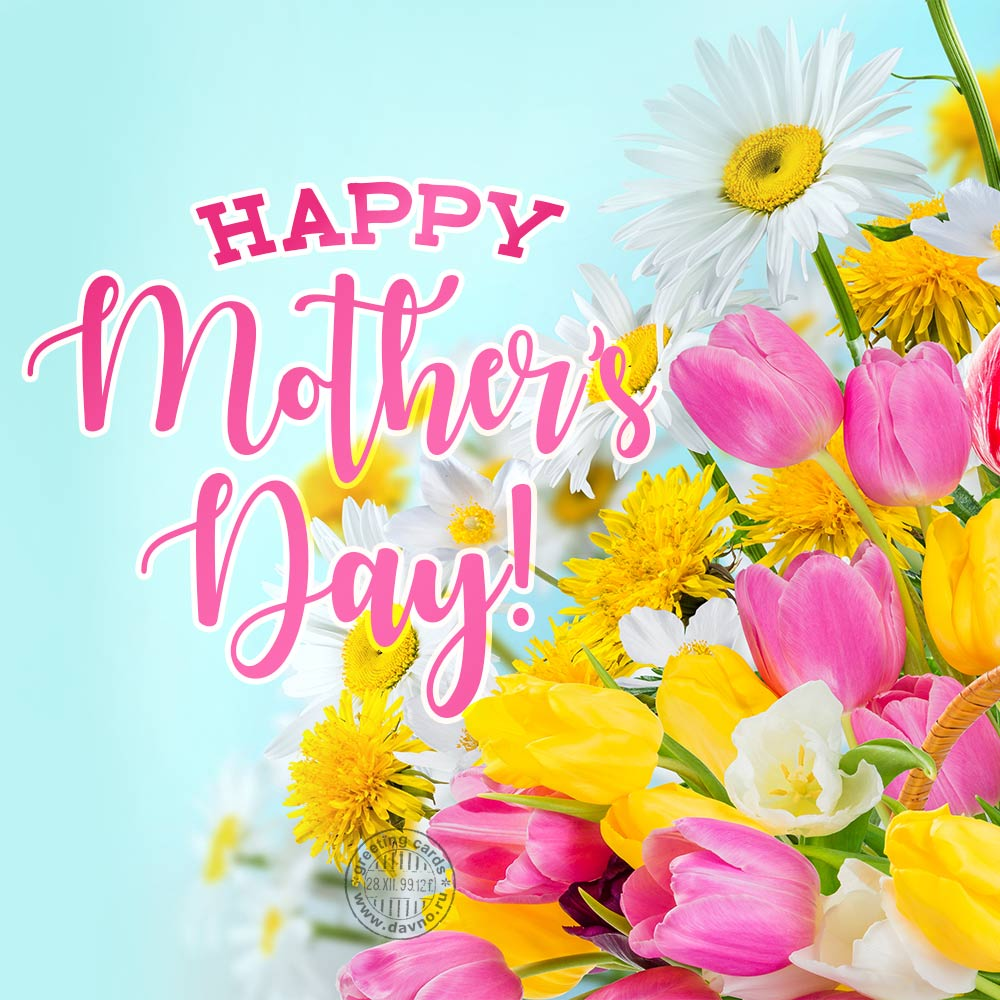 Mother's Day Greeting Card with flowers
