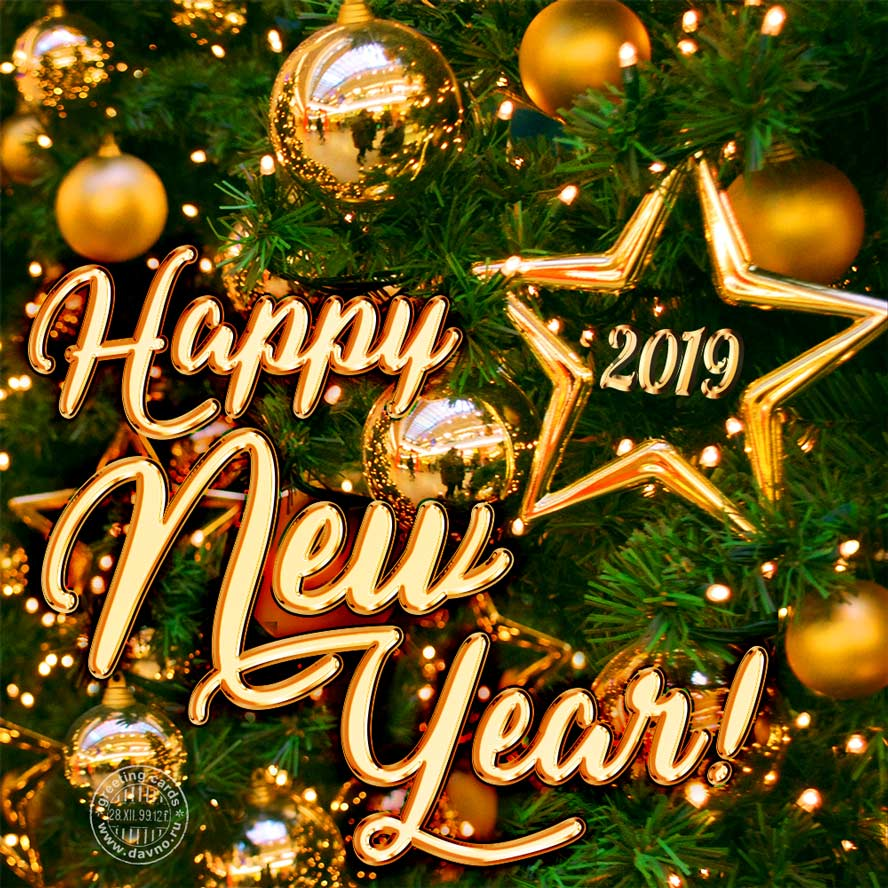 Golden New Year 2019 greeting card