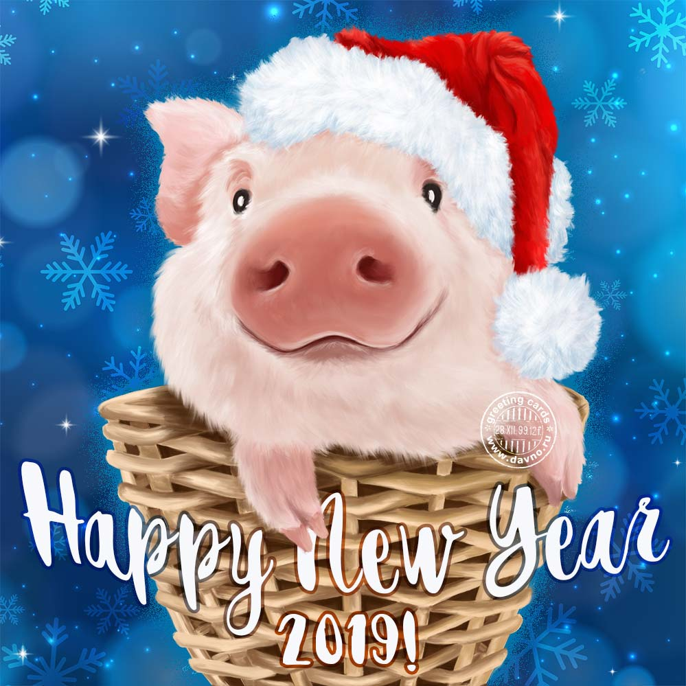 Happy New Year 2019 Card - Chinese Year of the Pig!