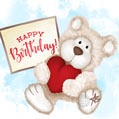 Beautiful Birthday Card with Teddy Bear and Red Heart