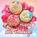 Birthday cupcakes and roses greeting card