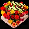 Yellow and red roses Happy Birthday card