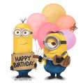 Minions Greeting Card with Cute Balloons