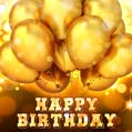 Free Birthday Card with Golden Balloons