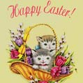 Kittens in basket Easter card
