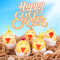 Happy Easter Greeting Card with Cute Chickens