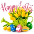 Yellow Spring Tulips and Beautiful Painted Eggs - Happy Easter eCard