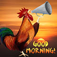 Good morning card with a rooster
