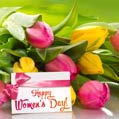 Red and yellow tulips Women's Day card